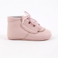5332 Pink Leather Lace up Pram Bootie